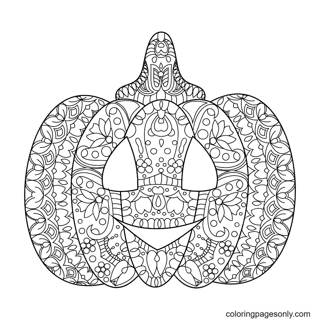 Pumpkin Mandala Free Coloring Page