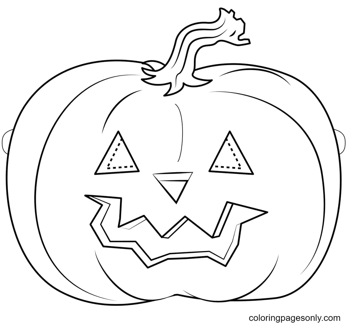 Pumpkin Mask Halloween Coloring Page