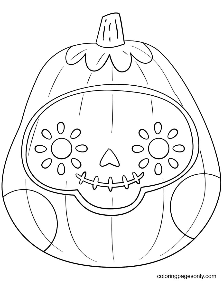 Pumpkin Sugar Skull Coloring Page