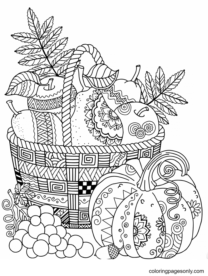 Pumpkin and Fruit Basket Coloring Page