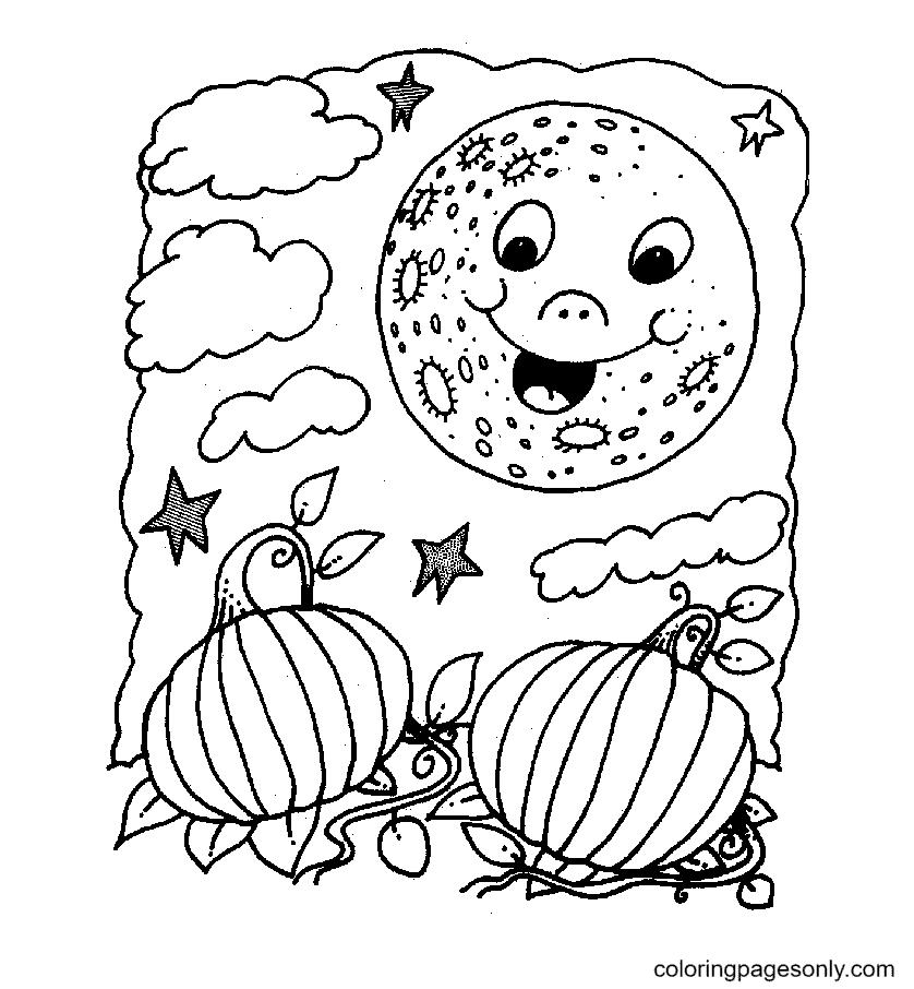 Pumpkins Under Happy Moon Coloring Page