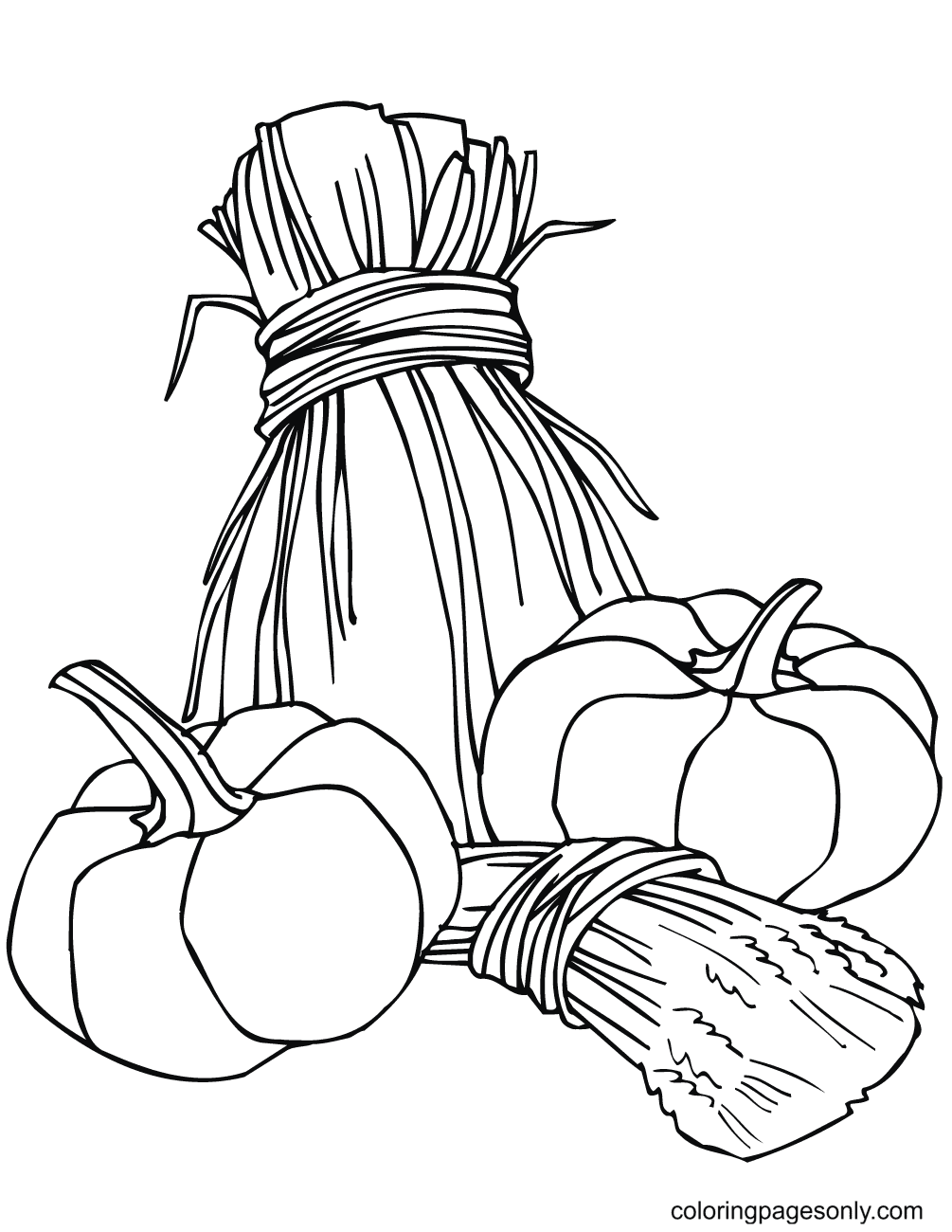 Pumpkins and Wheat Sheaves Coloring Page