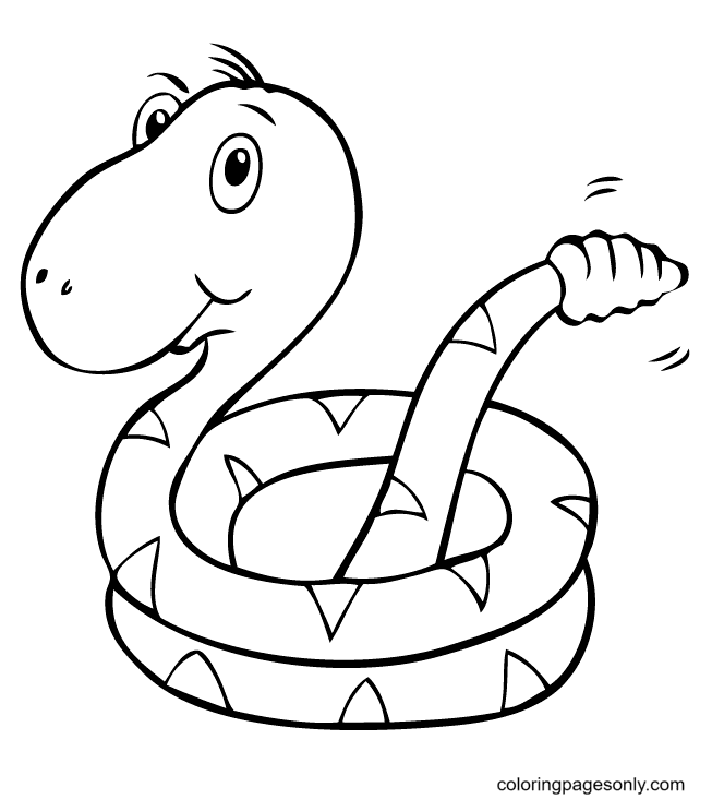 Rattlesnake with Big Head Coloring Page