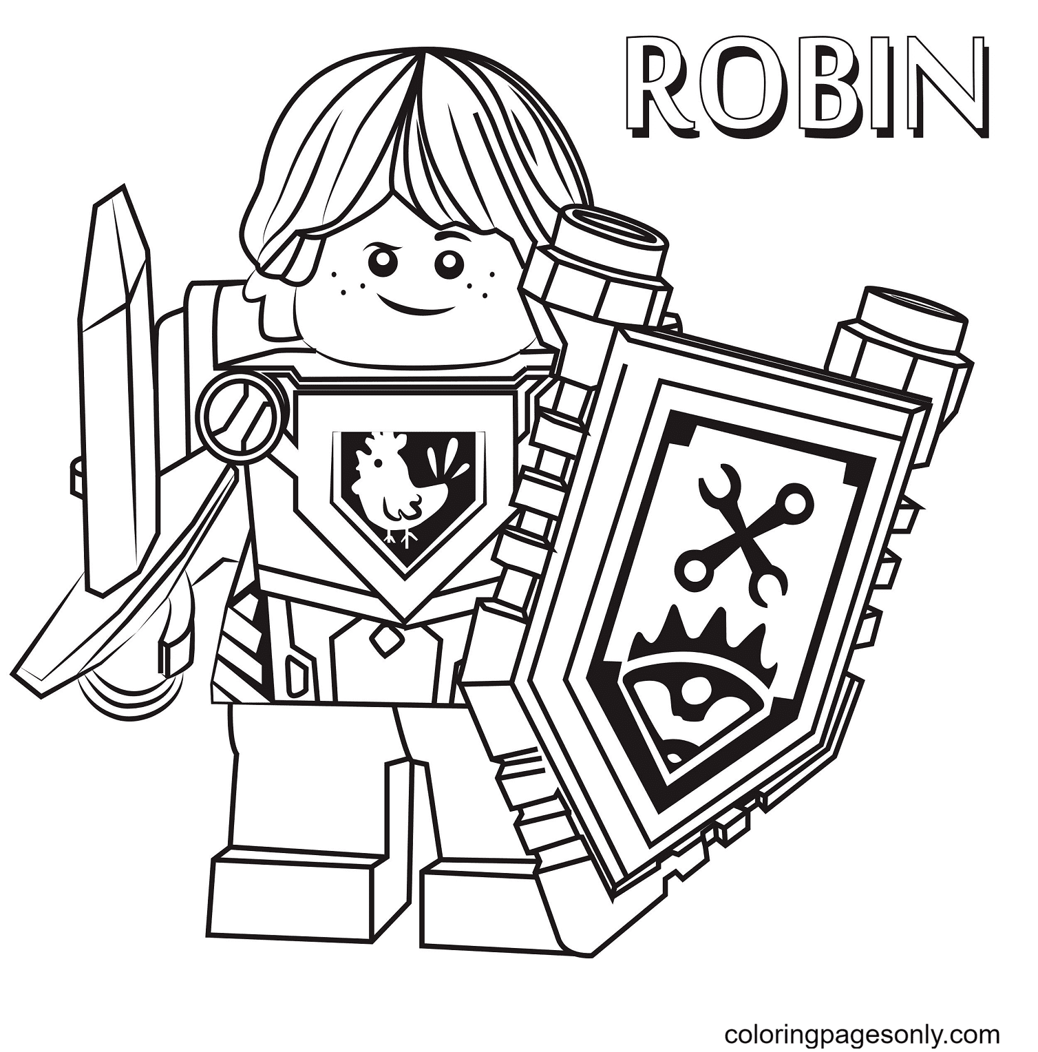 Robin Lego Nexo Knight Coloring Page