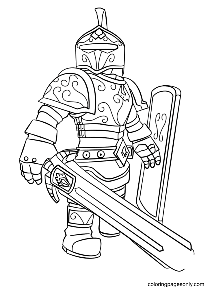 Roblox Knight Coloring Page