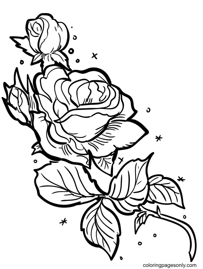 Romantic Roses Coloring Page