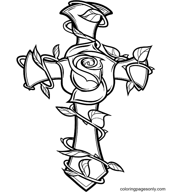 Rose And Cross Coloring Page