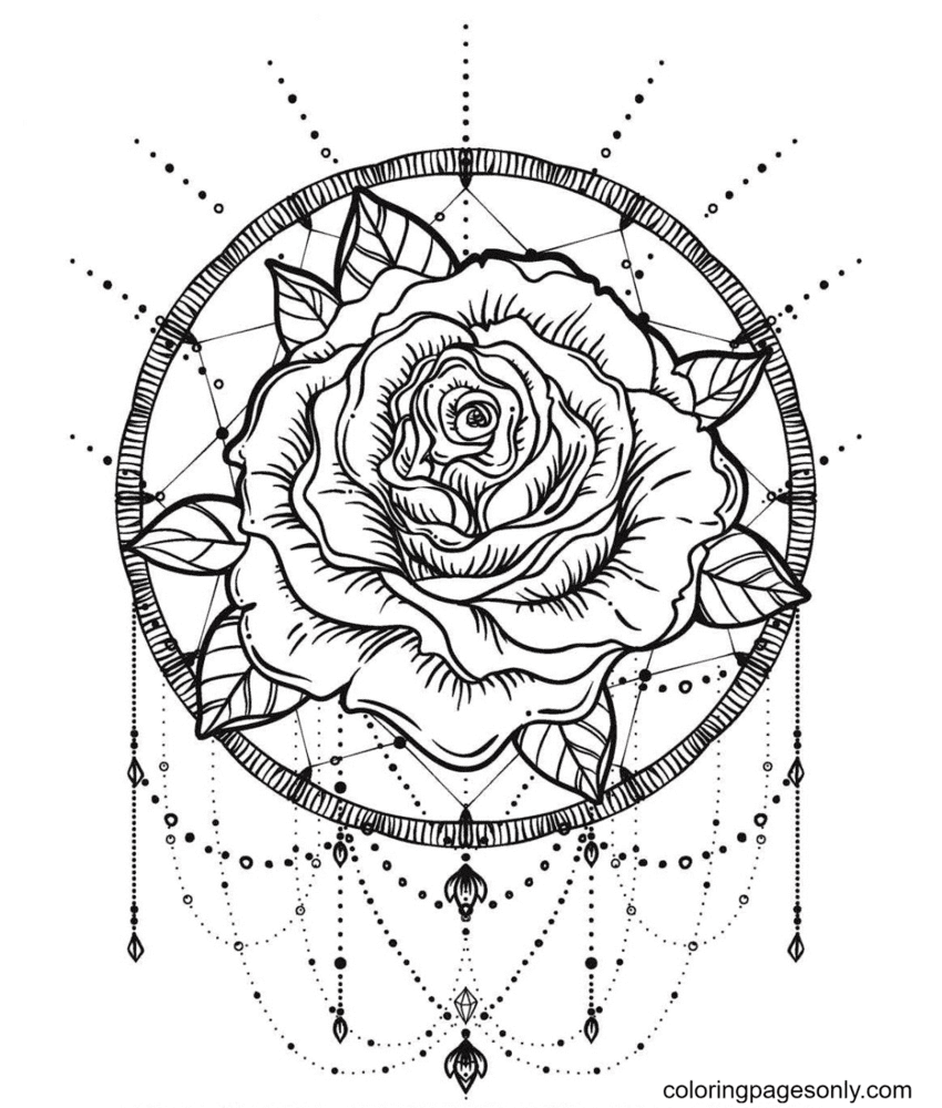 Rose Dreamcatcher Coloring Page