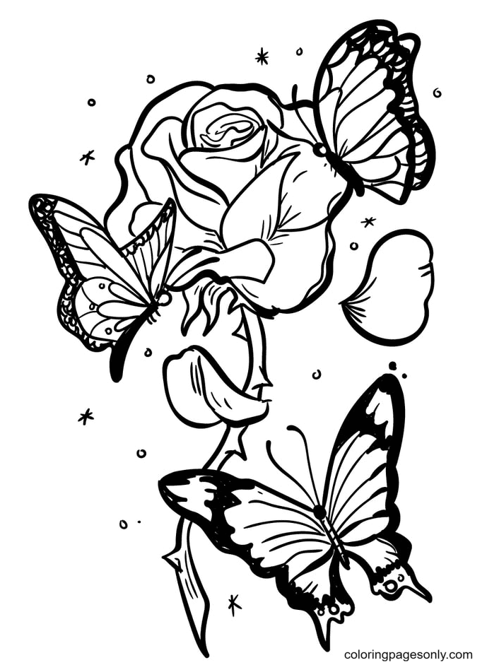 Rose with Three Beautiful Butterflies Coloring Page