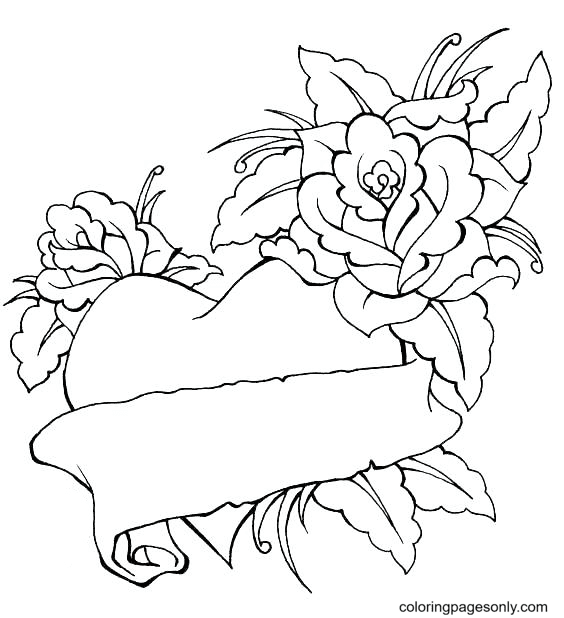 Roses and Hearts Coloring Page