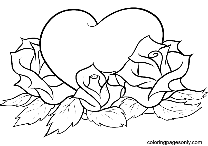 Roses with Hearts Coloring Page