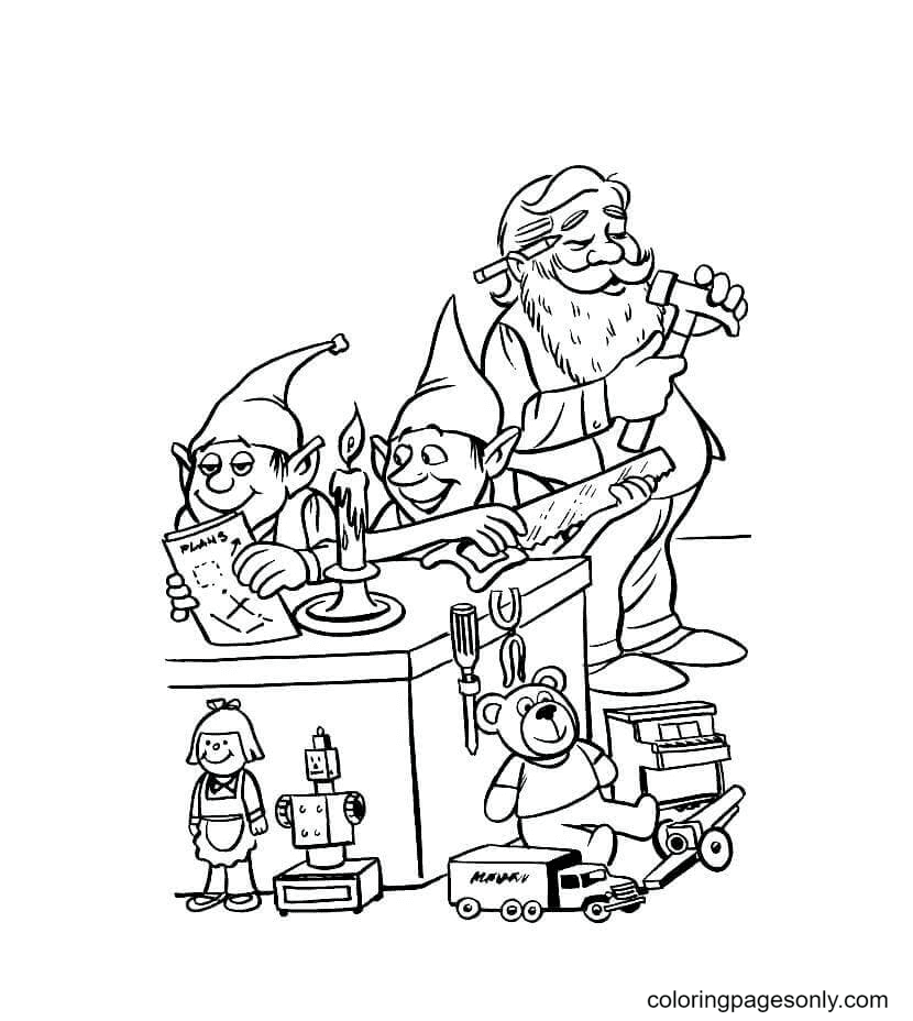 Santa And Group of Elf Coloring Page