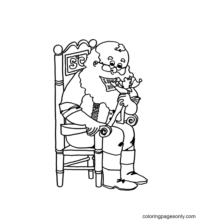 Santa With An Elf In Hand Coloring Page
