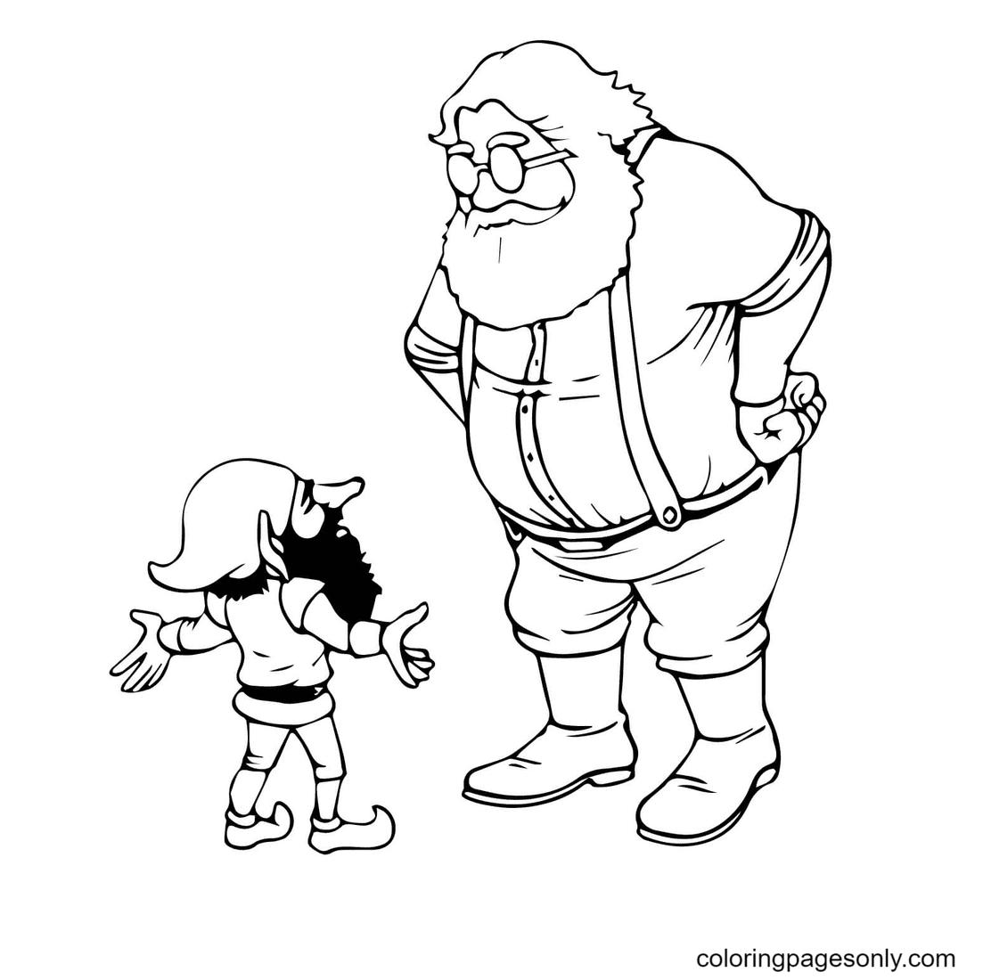 Santa and Christmas Elf Coloring Page