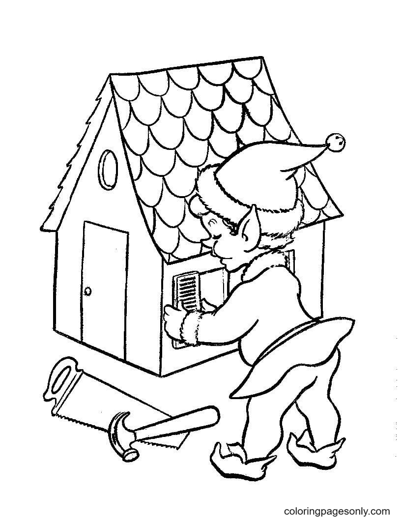 Santa elf is working on doll house Coloring Page