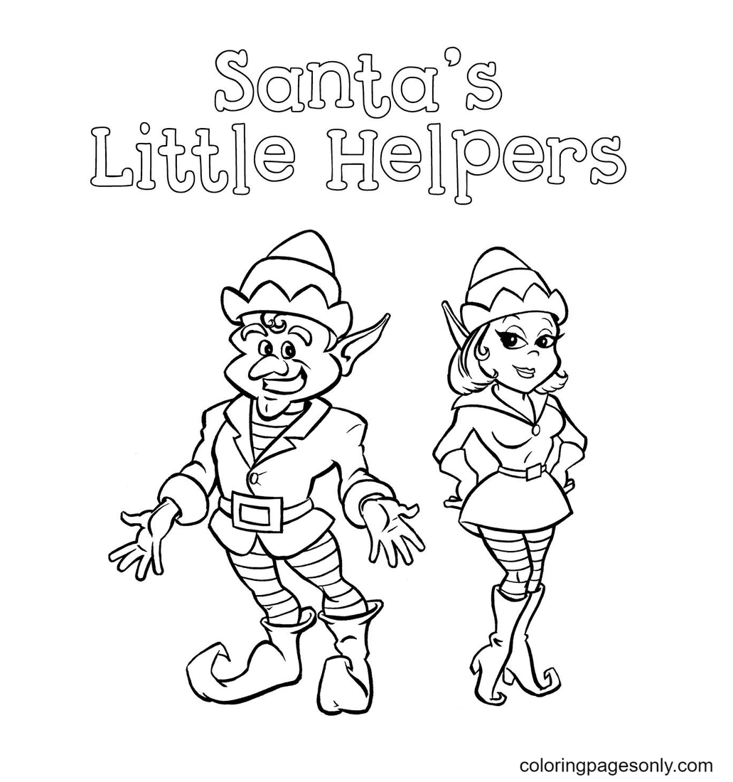Santa's Litter Helpers Coloring Page