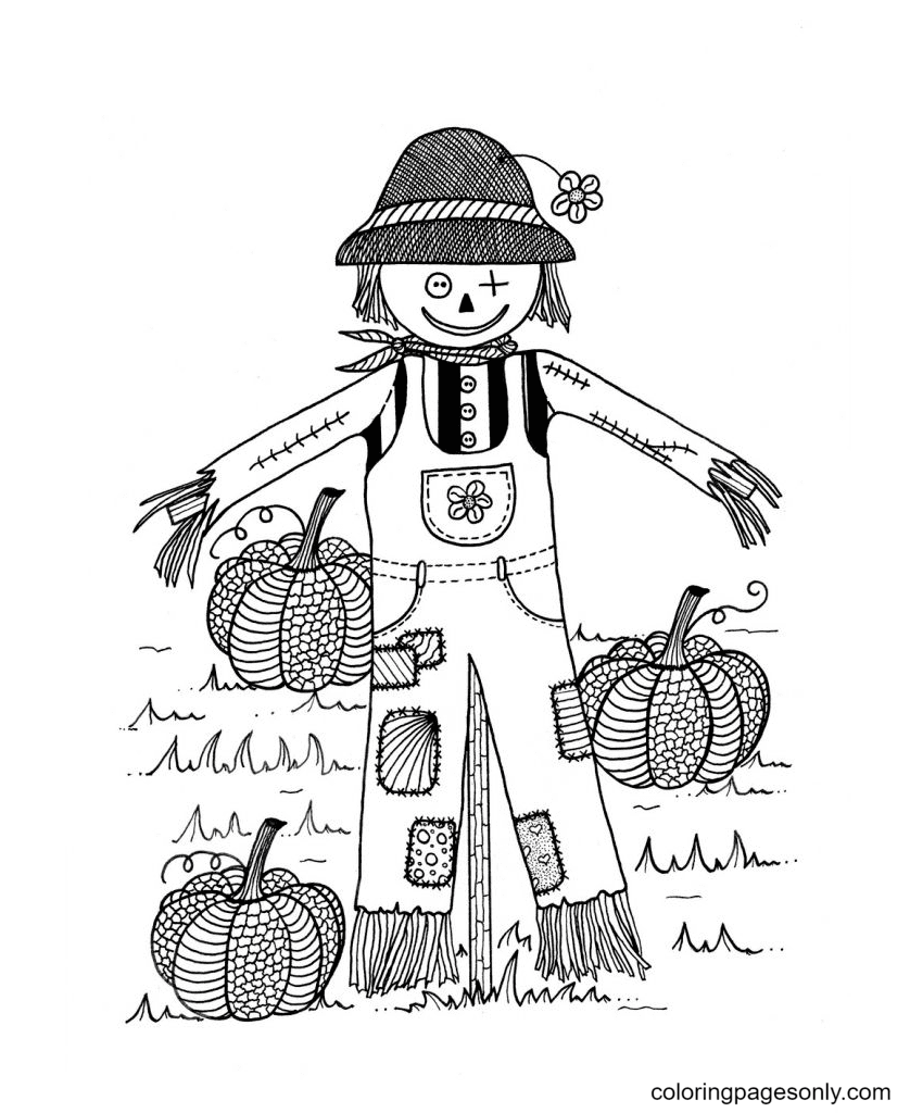 Scarecrow And Pumpkin Printable Coloring Page