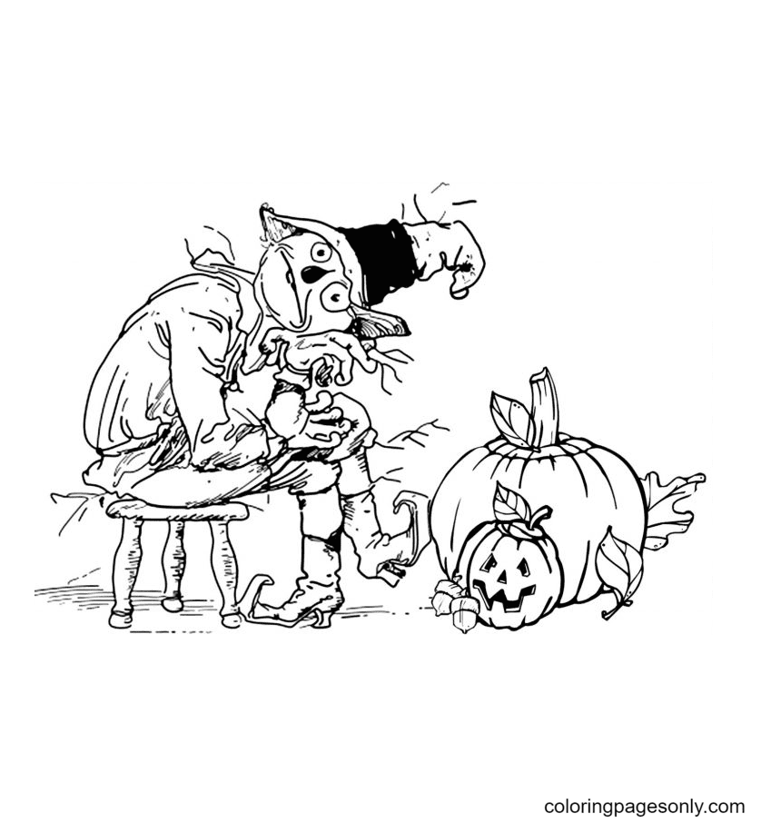 Scarecrow And Pumpkins Coloring Page