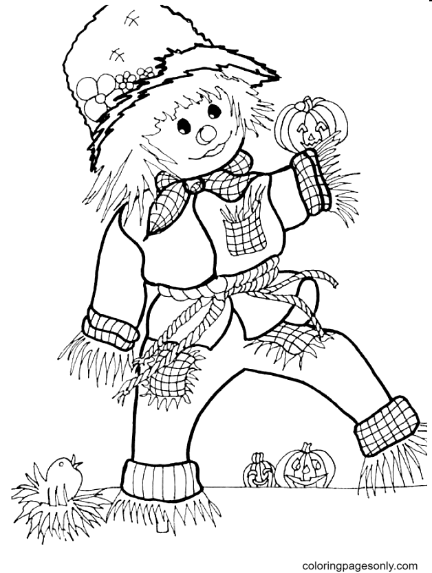 Scarecrow October Coloring Page