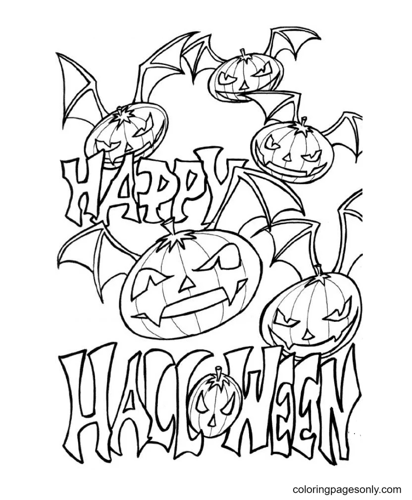 Scary Bat Pumpkin for Halloween Coloring Page