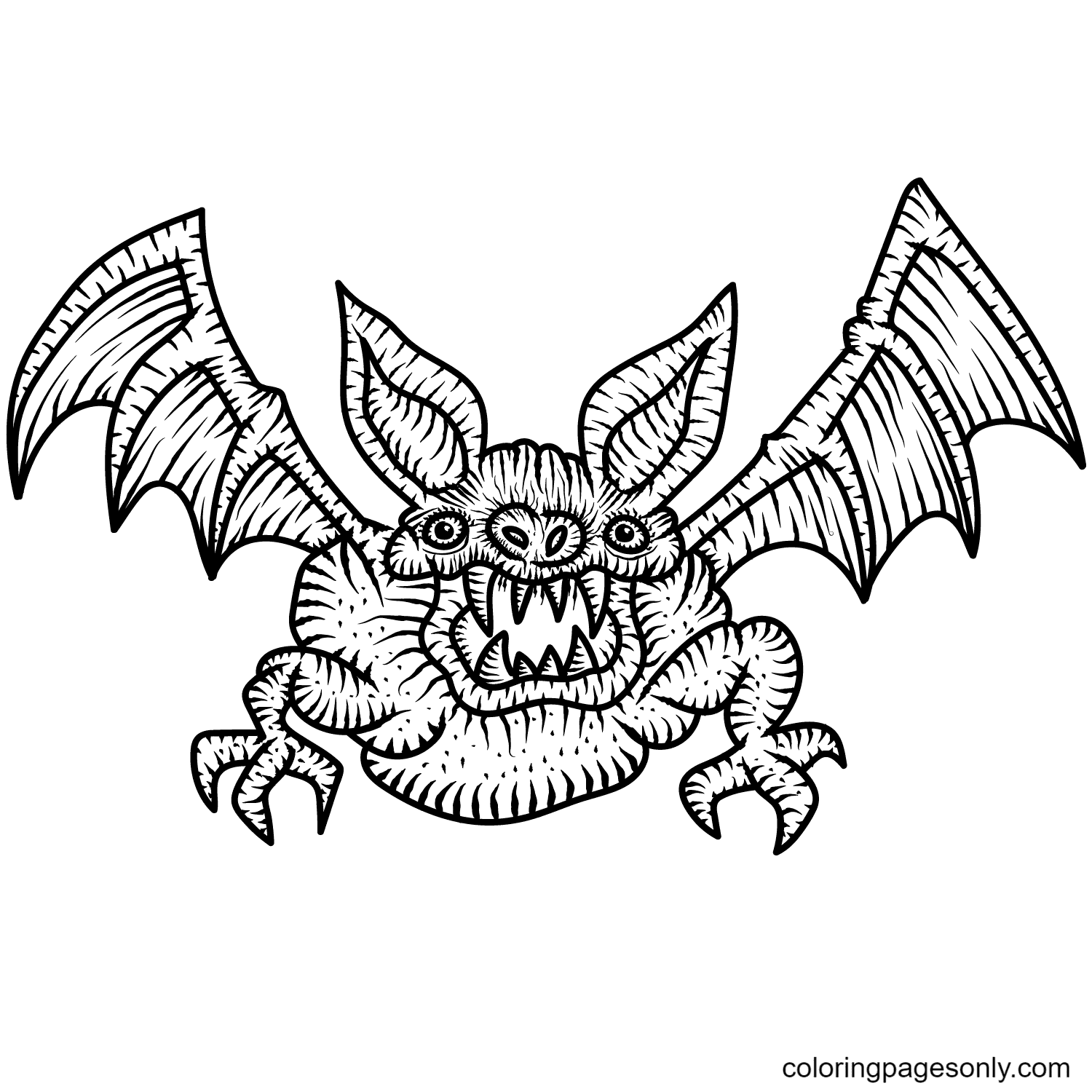 Scary Bat Coloring Page
