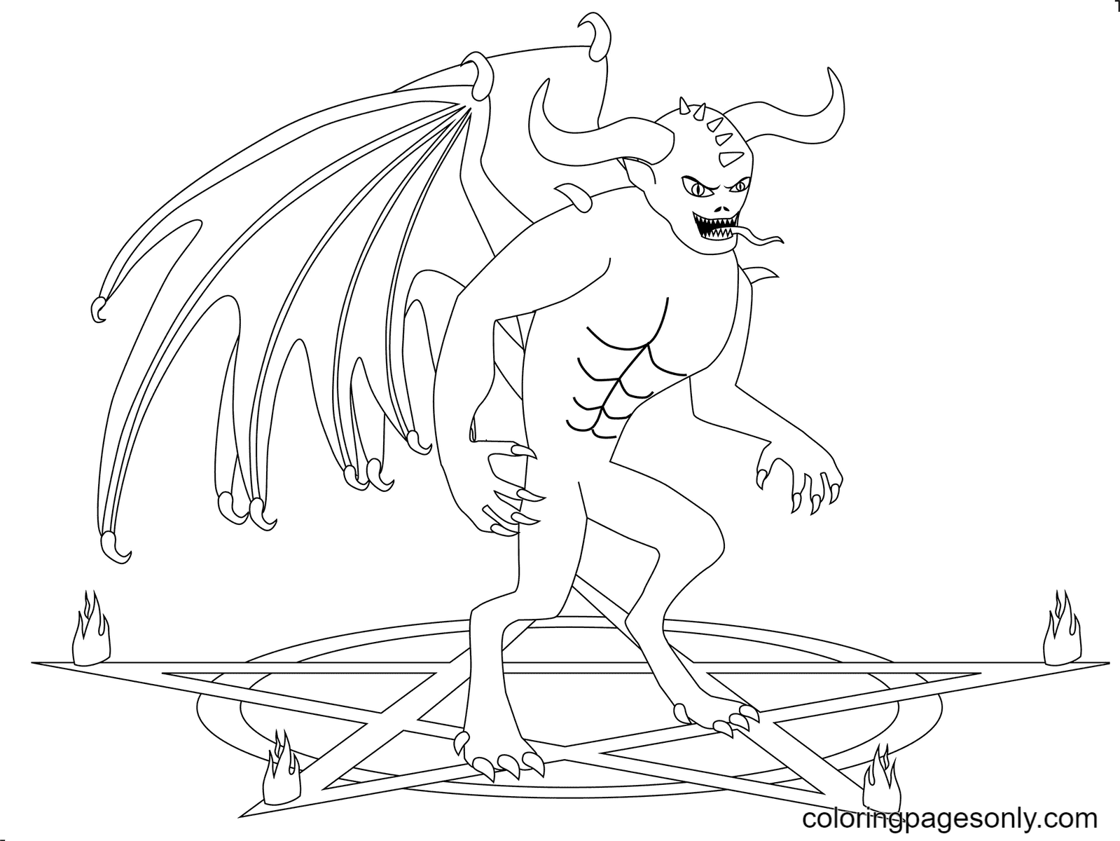 Scary Demon Coloring Page