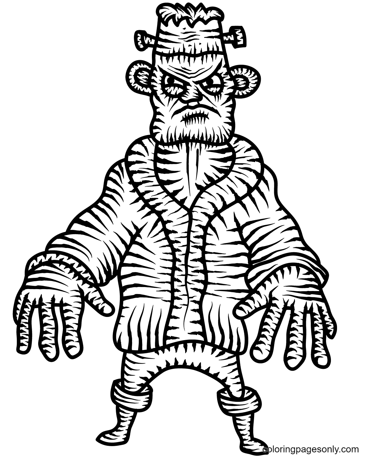 Scary Frankenstein Coloring Page