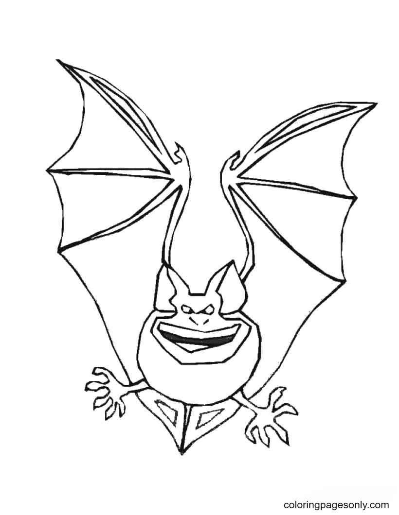 Scary Halloween Bat Free Coloring Page