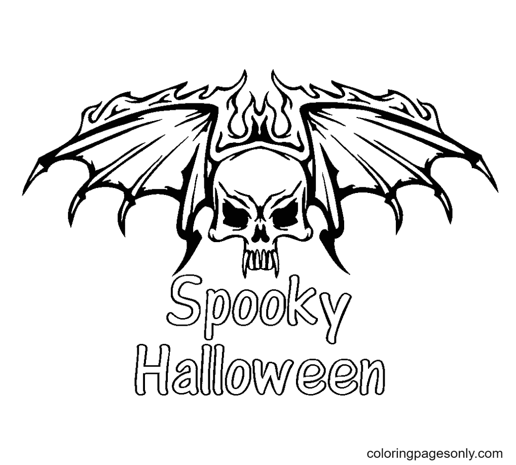 Scary Halloween Bat Coloring Page
