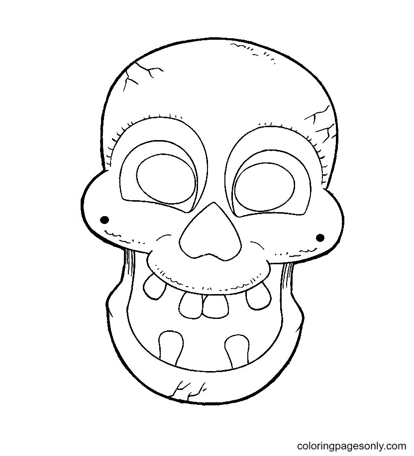 Scary Halloween Mask Printable Coloring Page