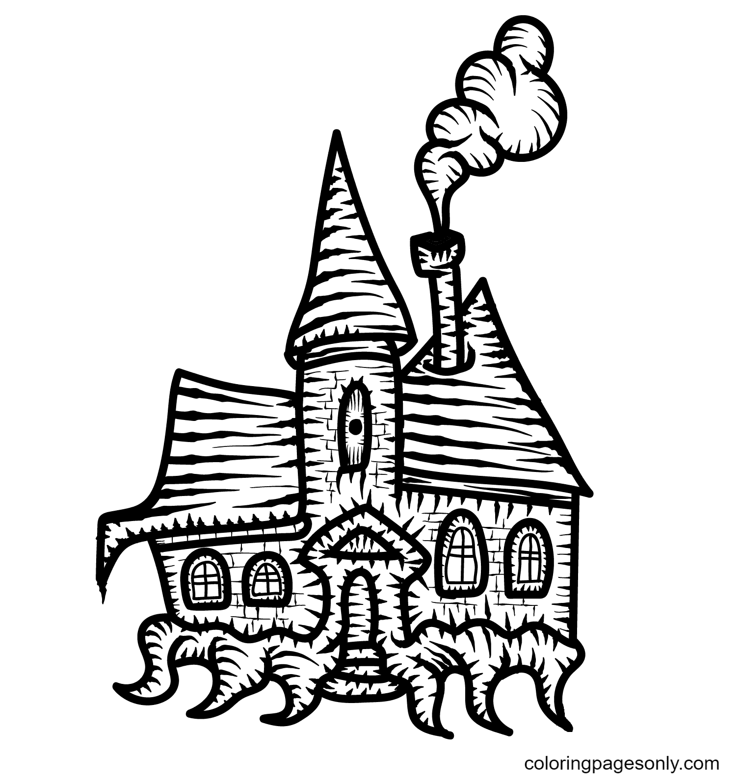 Scary Haunted House Free Coloring Page