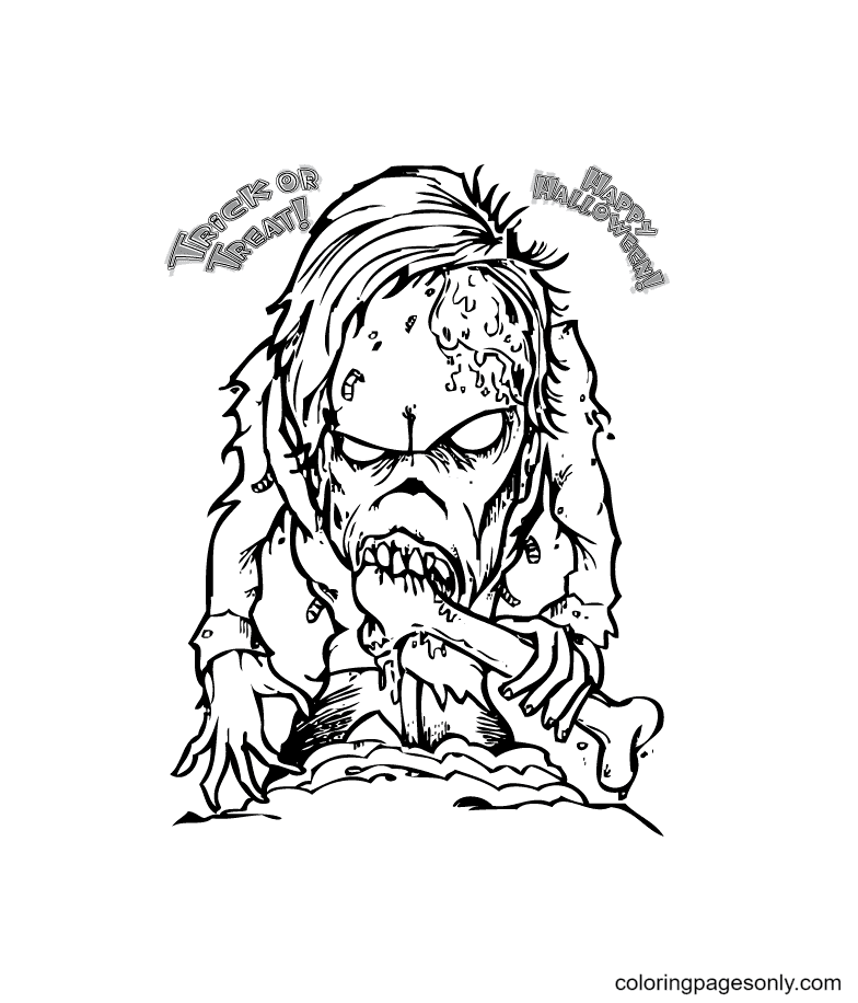 Scary Monster on Halloween Coloring Page