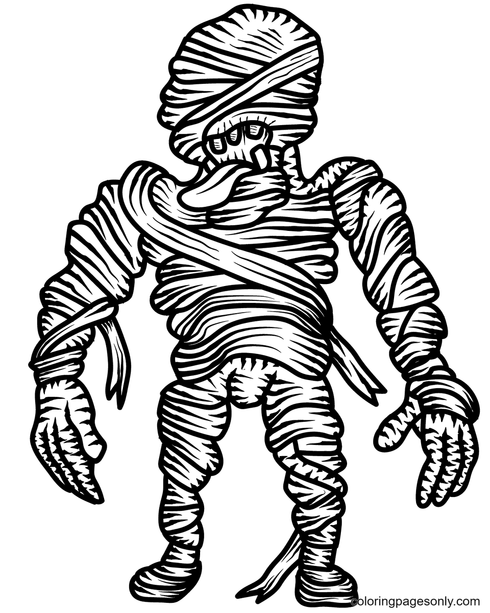 Scary Mummy Printable Coloring Page