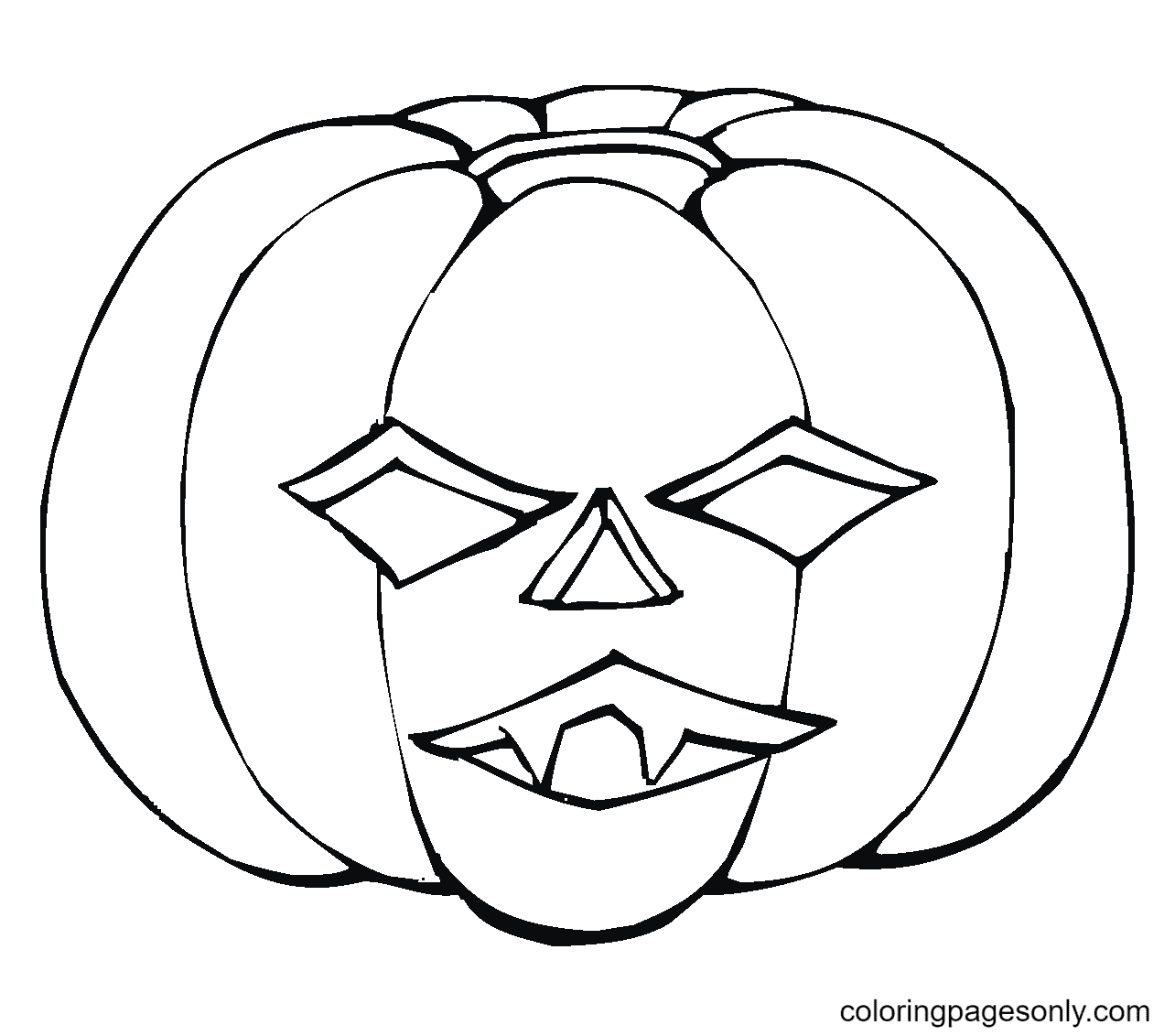 Scary Pumpkin Halloween Coloring Page
