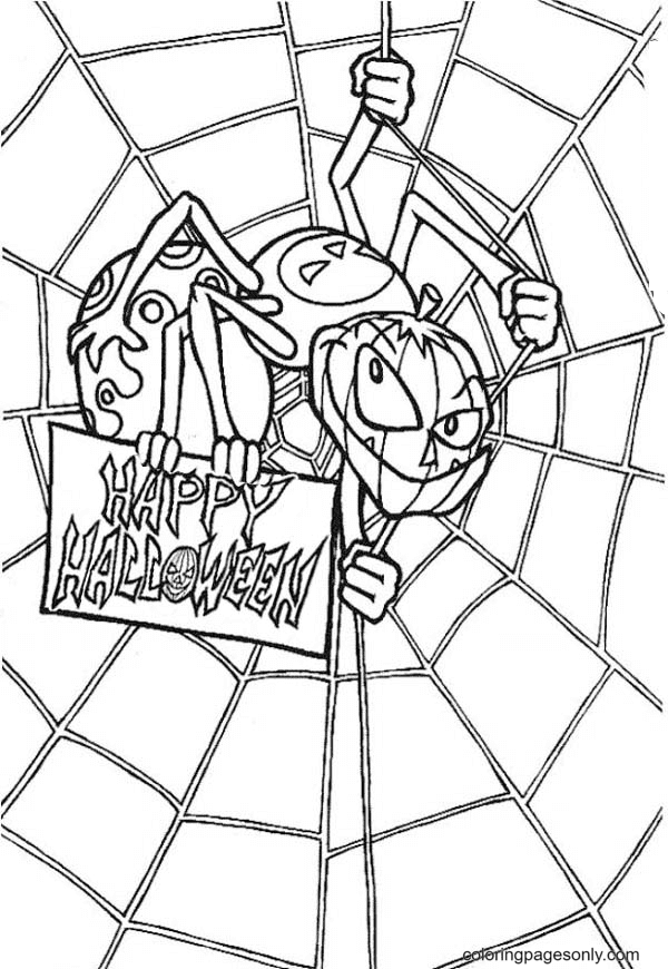 Scary Spider With Spider Web Coloring Page