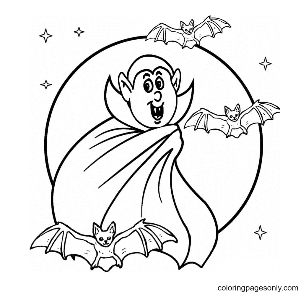 Scary Vampire and Bat Coloring Page