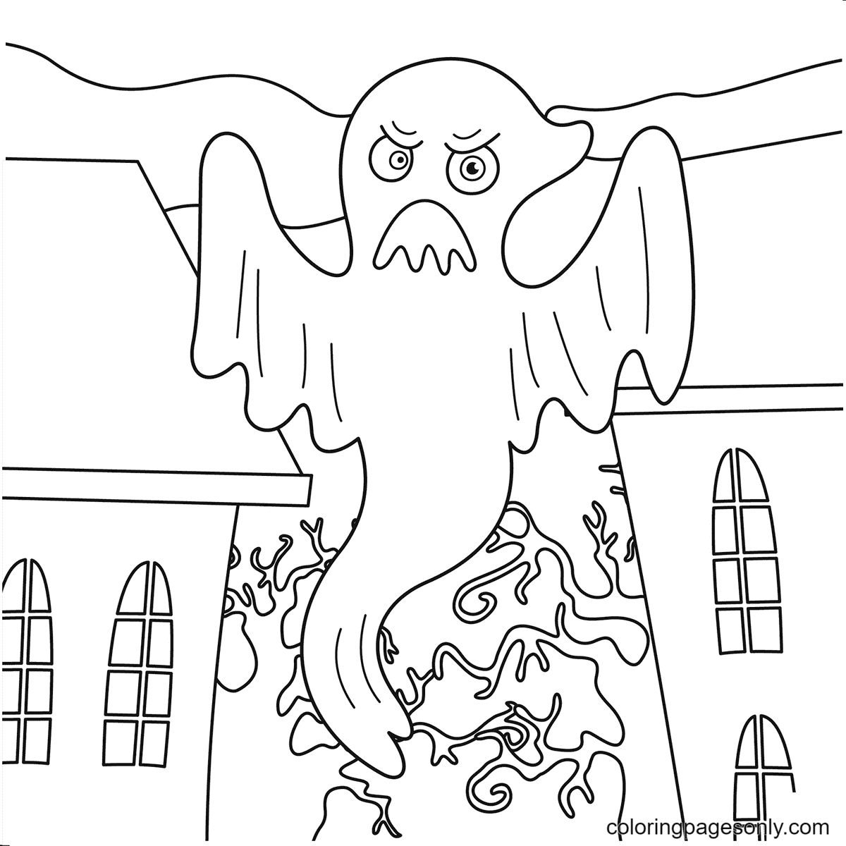 Scary ghost on Halloween Coloring Page