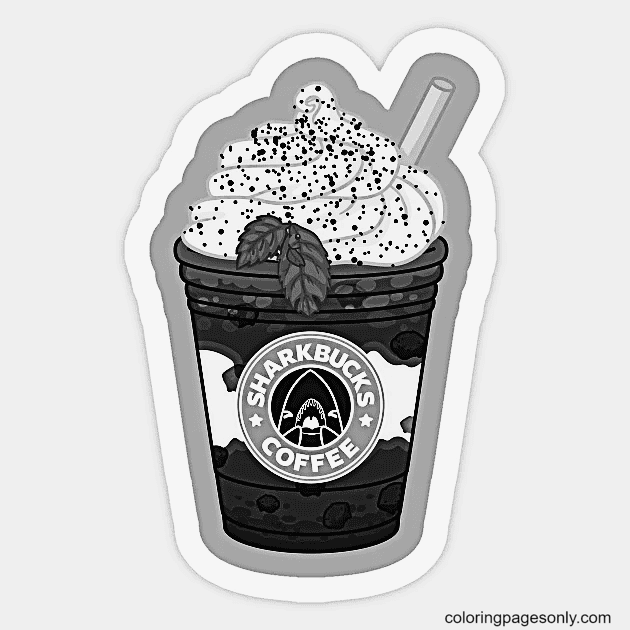 Sharkbucks Coffee Cup Free Printable Coloring Page