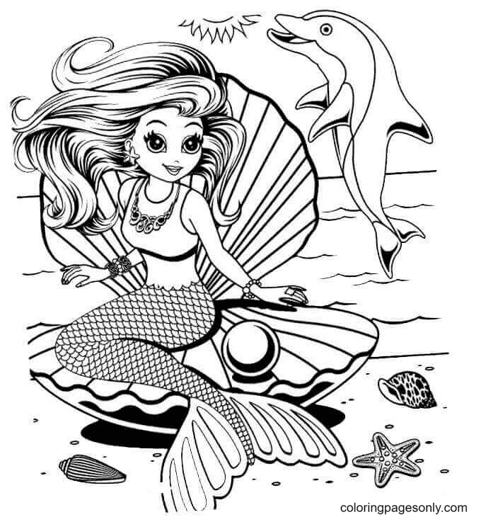Shelle The Mermaid From Lisa Frank Coloring Page