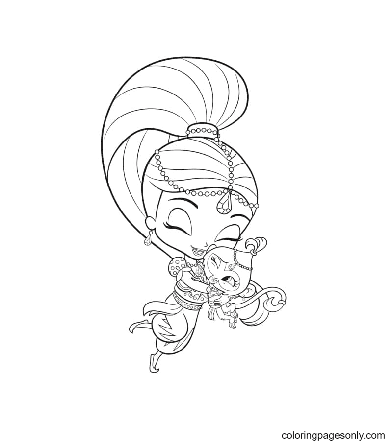 Shimmer Hugs Tala the monkey Coloring Page