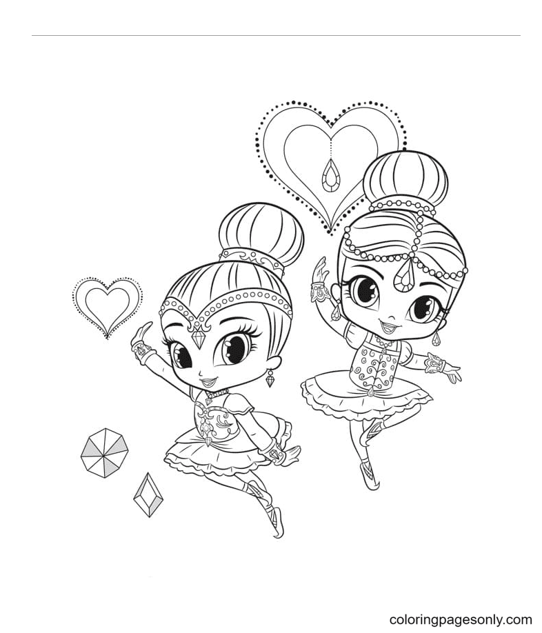 Shimmer and Shine wear beautiful ballet dresses Coloring Page