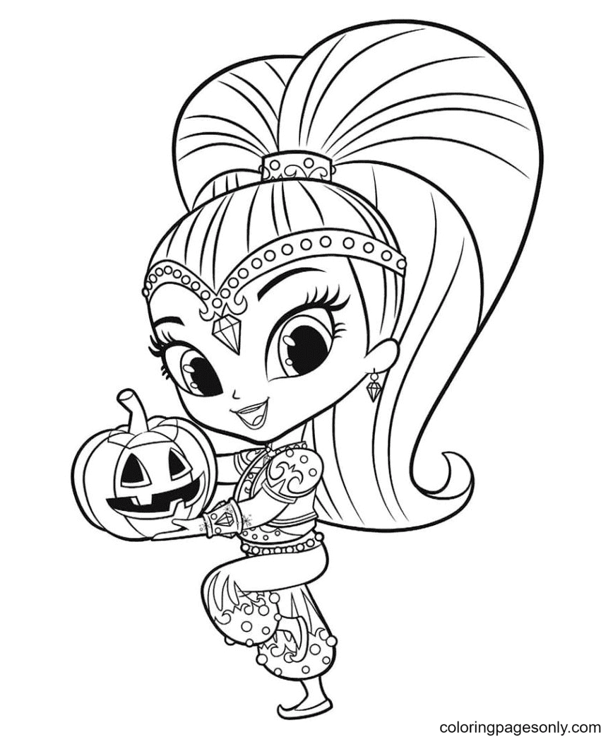 Shine with Pumpkin Halloween Coloring Page
