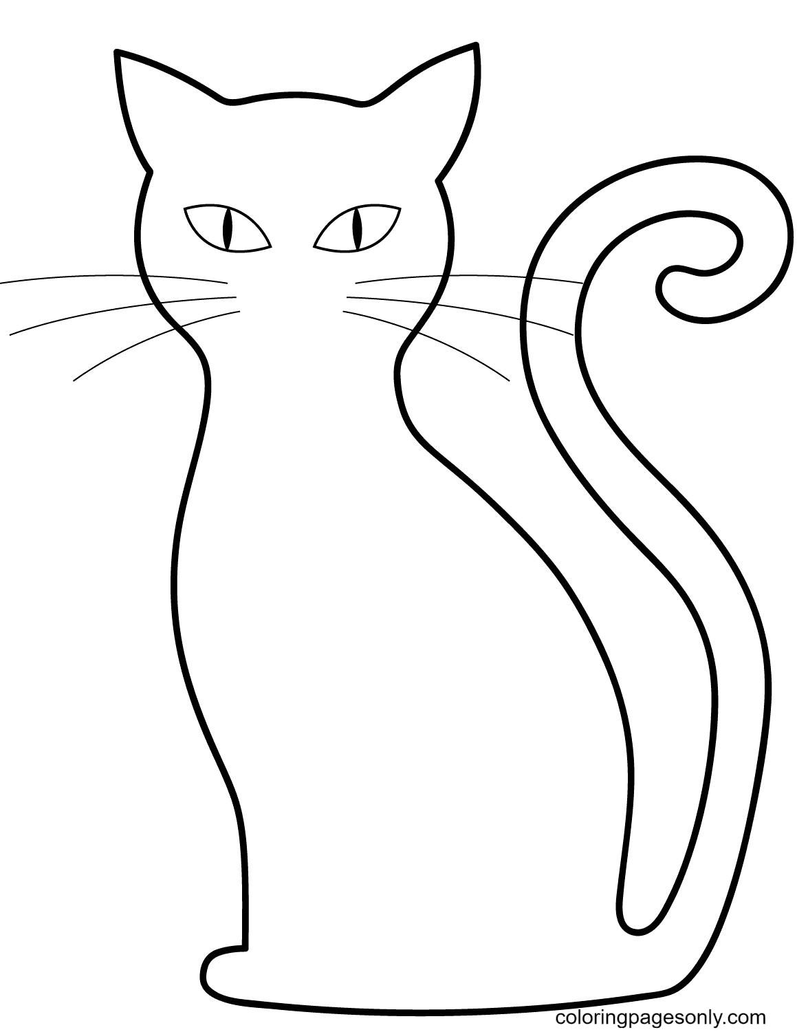 Simple Black Cat Coloring Page