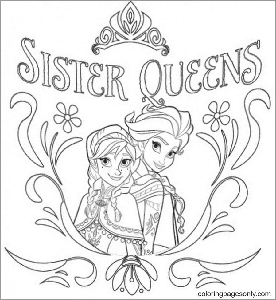 Sister Queens Frozen Coloring Page