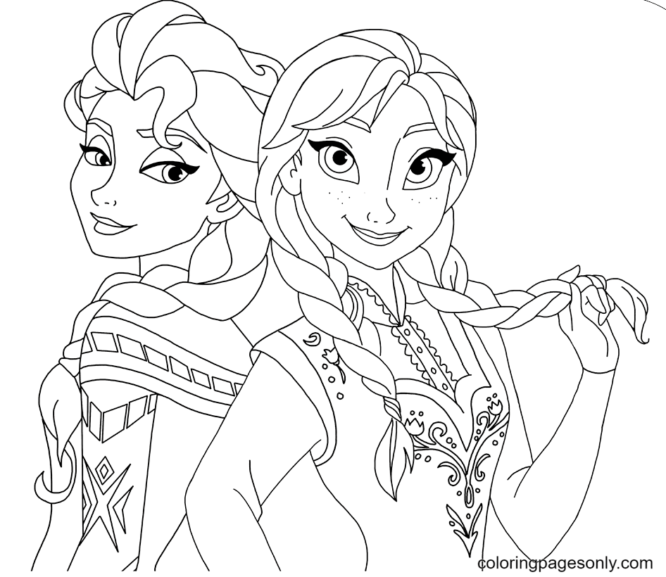Sisters Anna and Elsa Beautiful Coloring Page