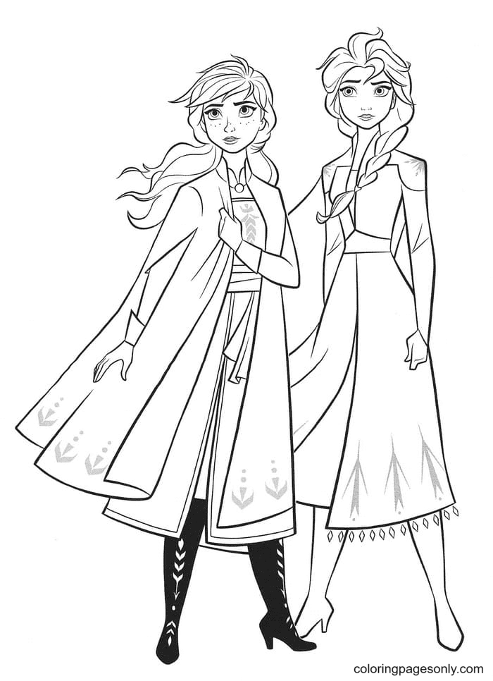 Sisters Anna and Elsa Frozen II Coloring Page