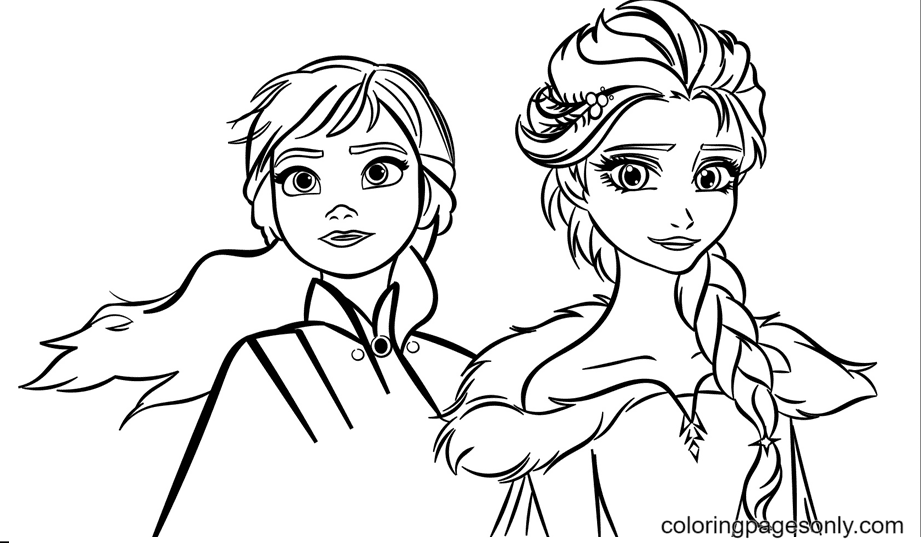 Sisters Elsa & Anna Coloring Page