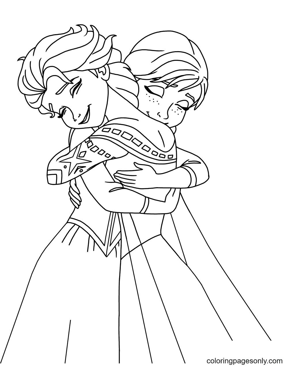 Sisters Elsa and Anna Hug Each Other Coloring Page
