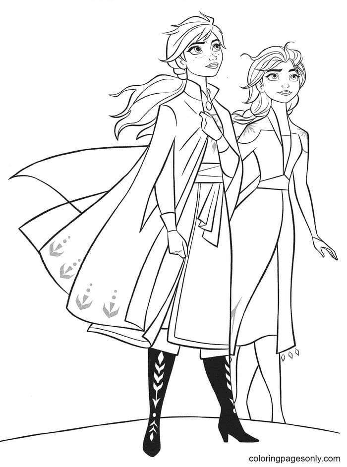 Sisters Elsa and Anna from Frozen II Coloring Page