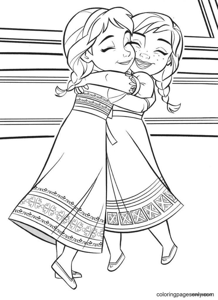 Sisters Elsa and Anna hug Coloring Page